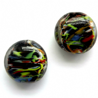 10 Black Lampwork glass 20mm Disc Oval beads